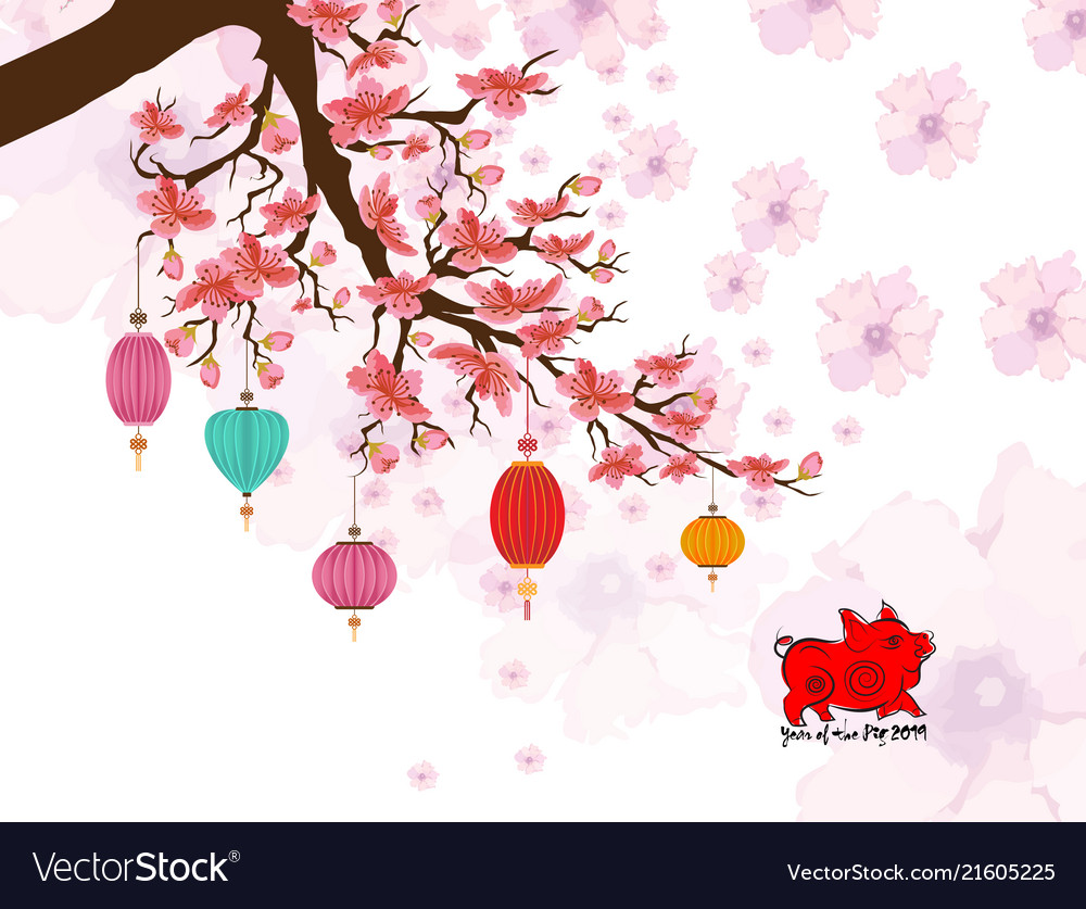 2019 chinese new year greeting card with pig Vector Image