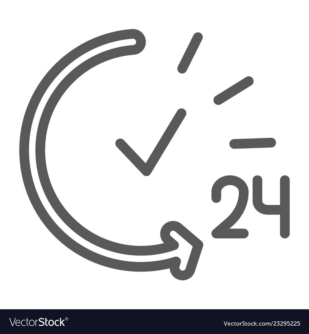24 hours line icon service and time open all day