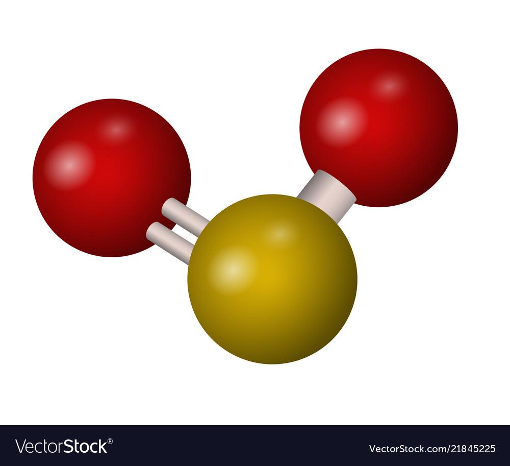A Molecule Of Sulfur Dioxide Royalty Free Vector Image