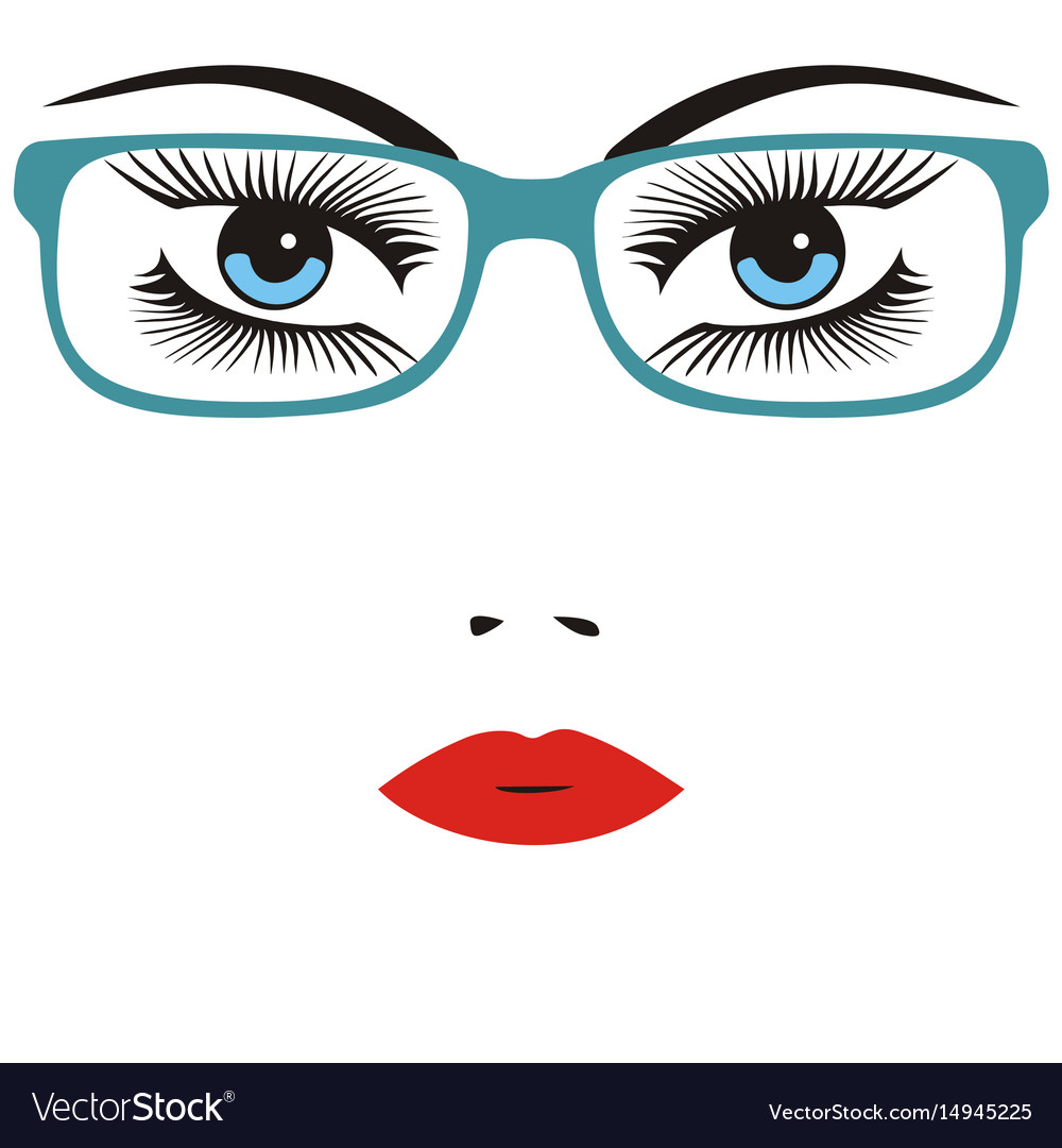Beautiful smart young woman wearing glasses vector image