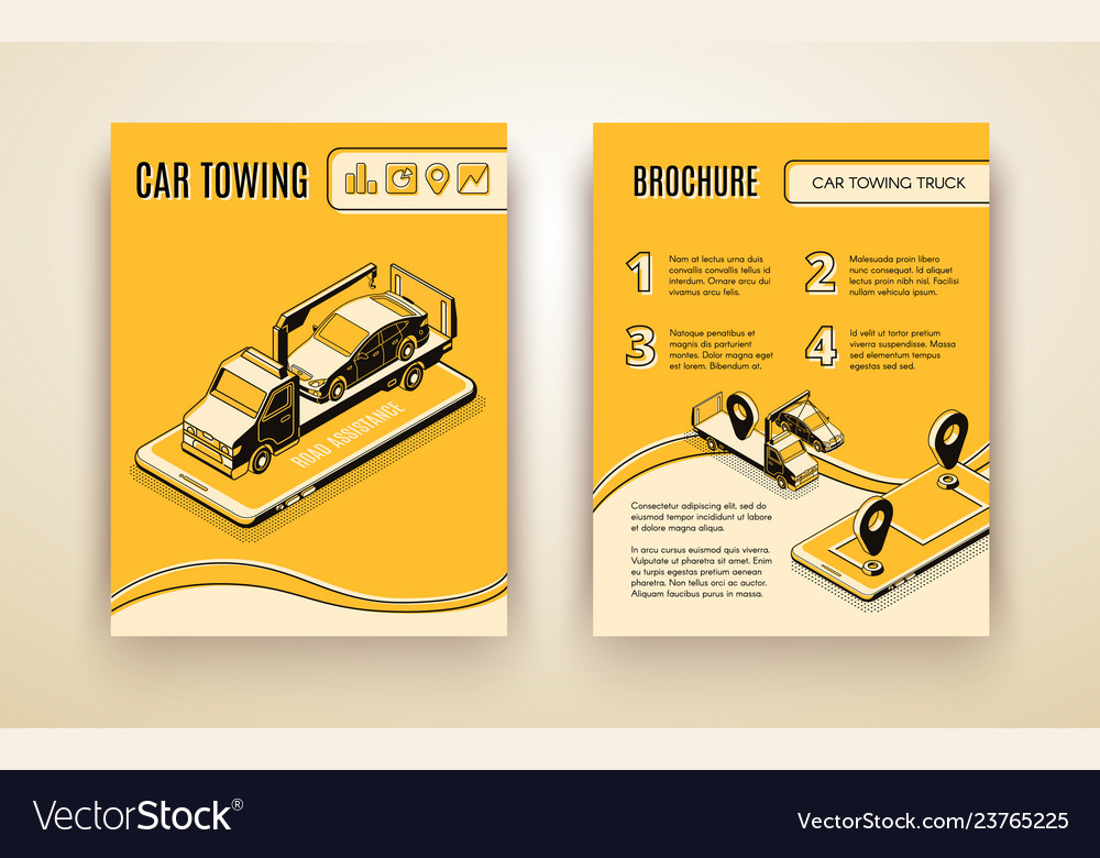 Car towing road service isometric brochure