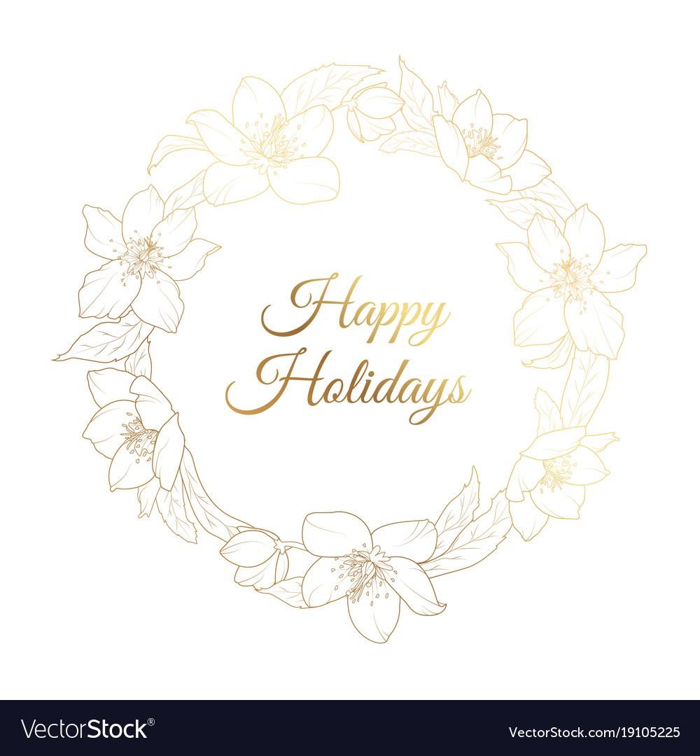 christmas rose hellebore flowers wreath template vector image