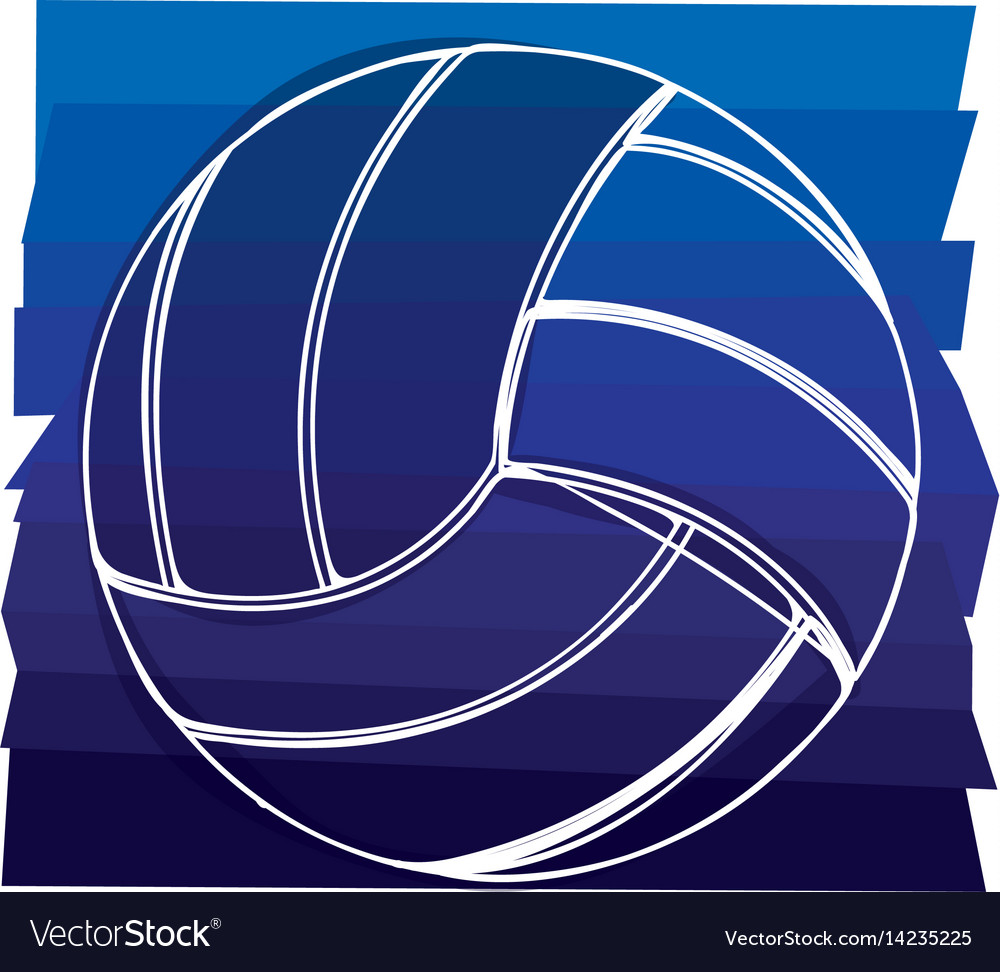 Color background with volleyball ball in white vector image