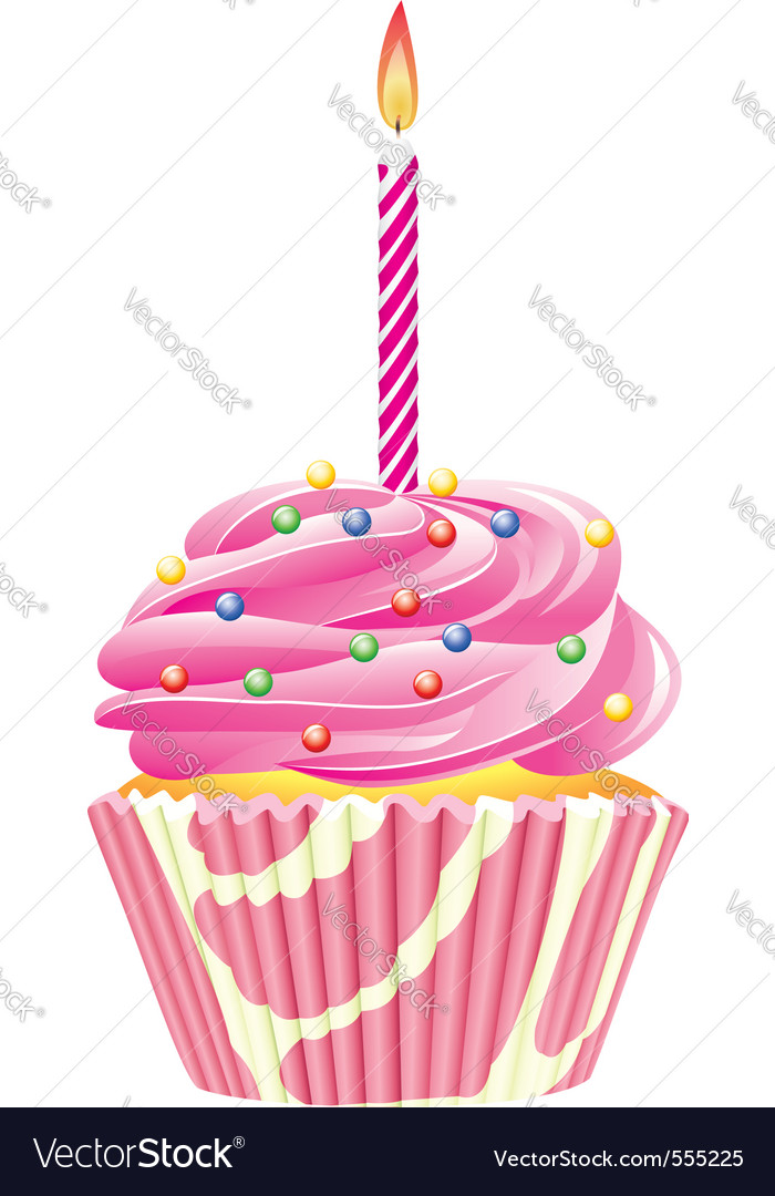 Cupcake Candle Royalty Free Vector Image Vectorstock