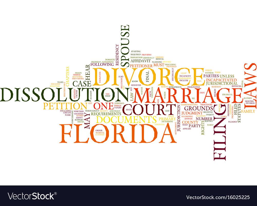 Florida divorce laws text background word cloud