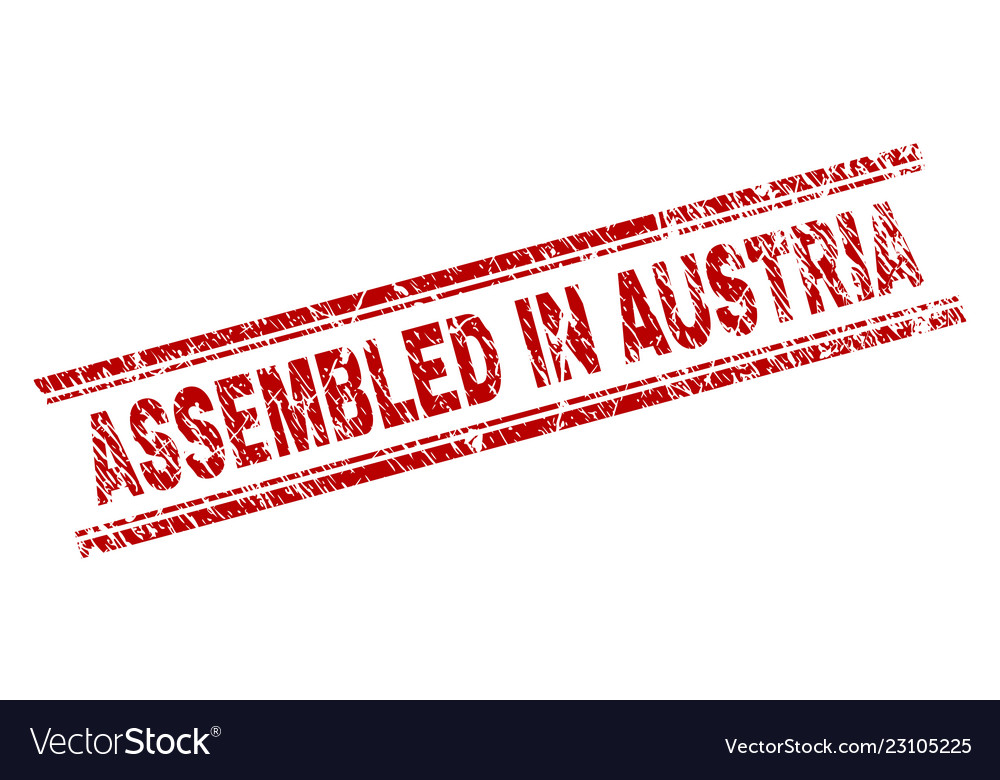 Grunge Textured Assembled In Austria Stamp Seal Vector Image