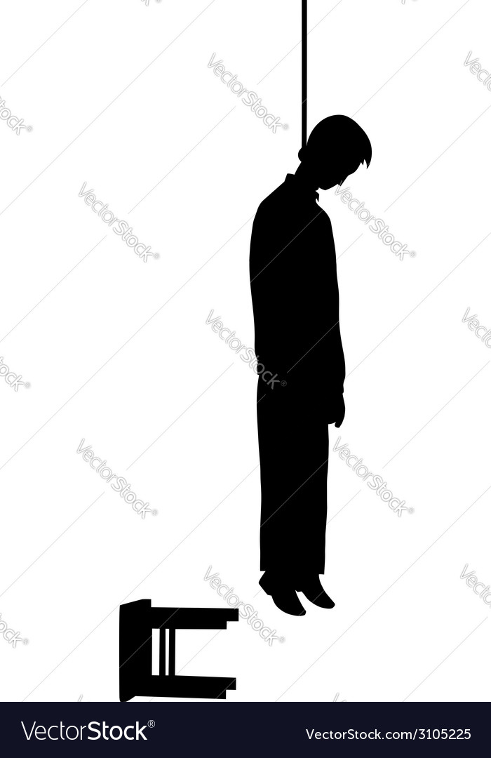 Hanged Man Silhouette Vector Image
