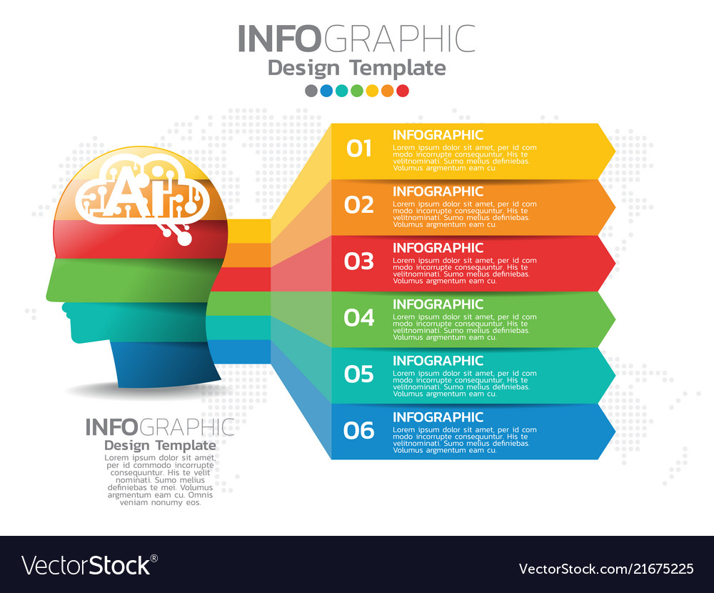 Infographic template design with 6 color options