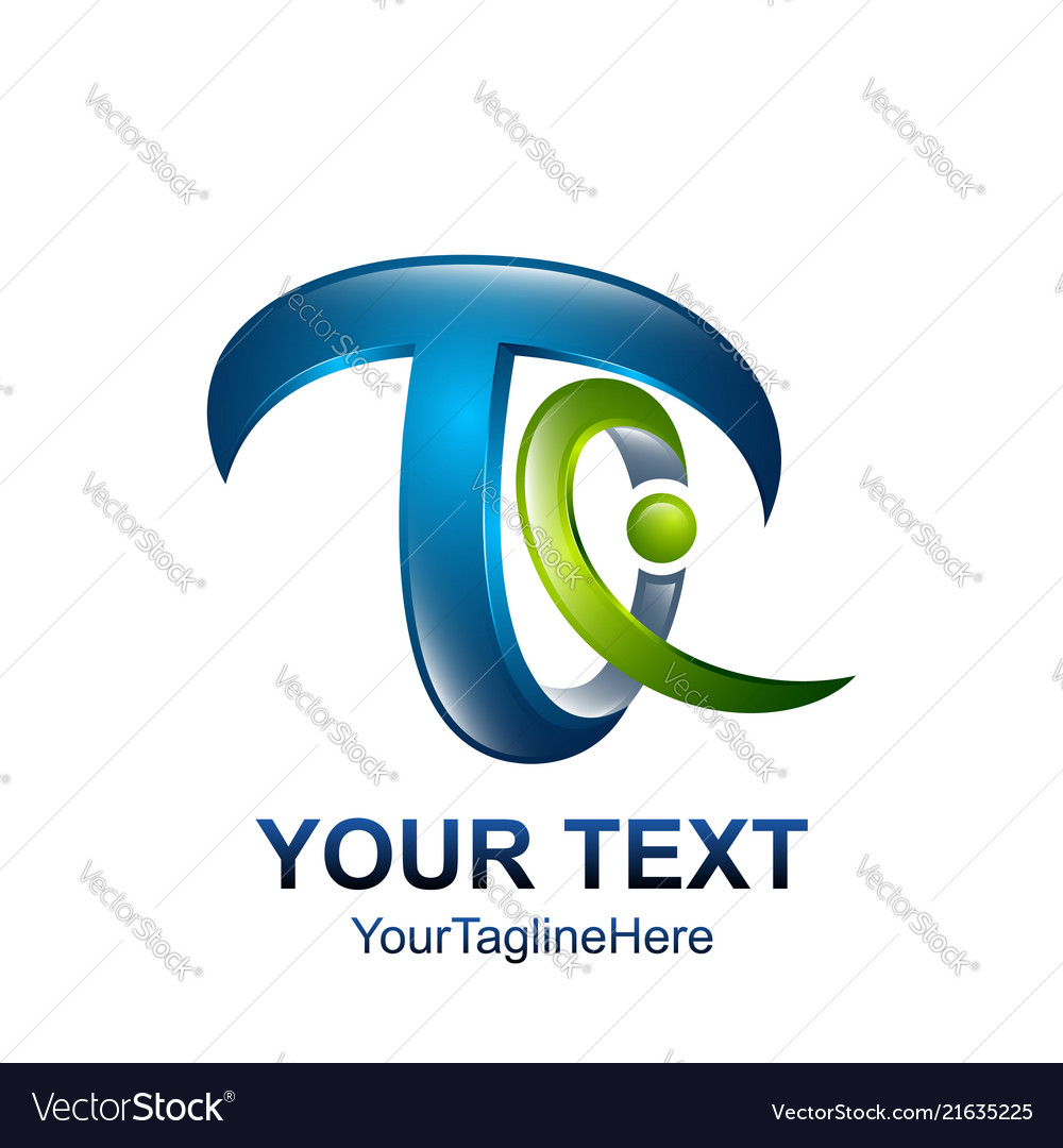7f4d6ecfd Initial letter t logo template colored green blue Vector Image