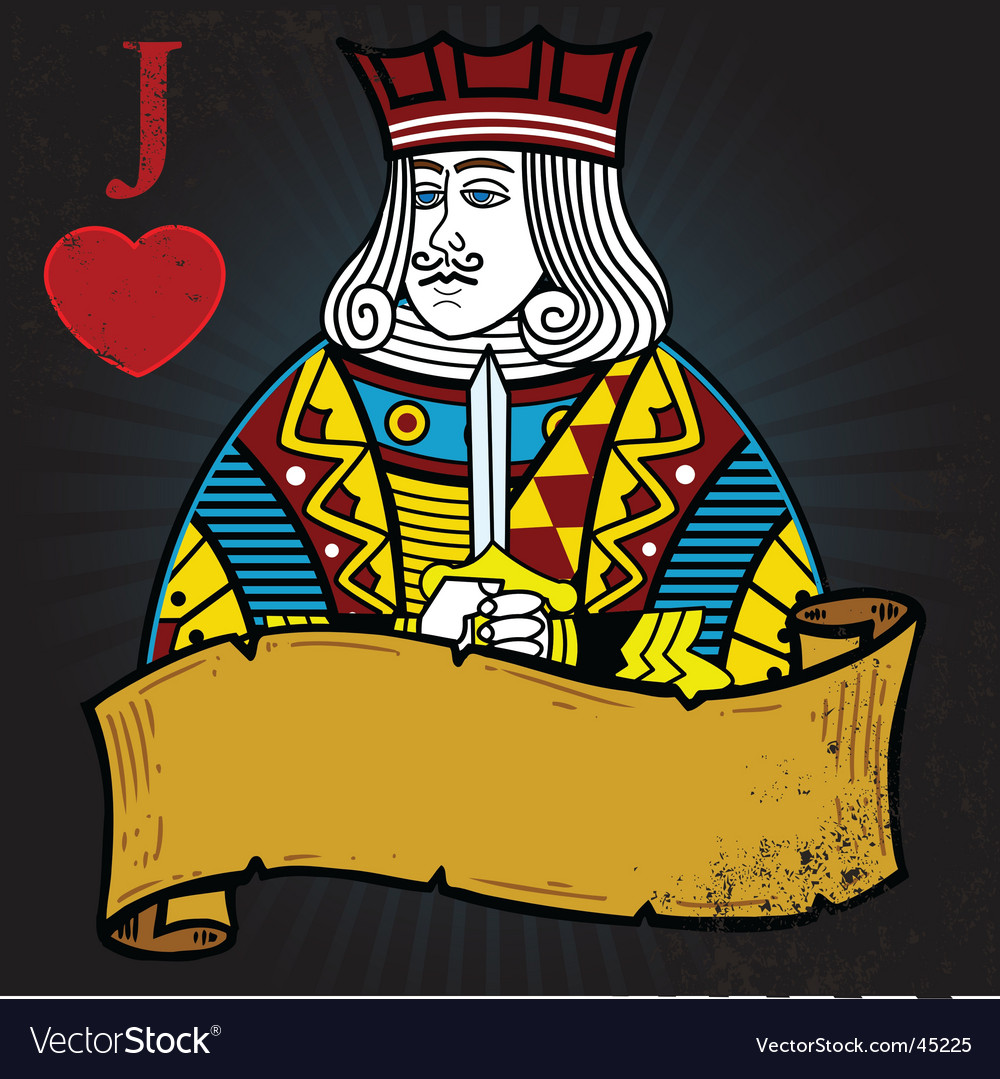 Jack Of Hearts With Banner Tattoo Style Illus Vector