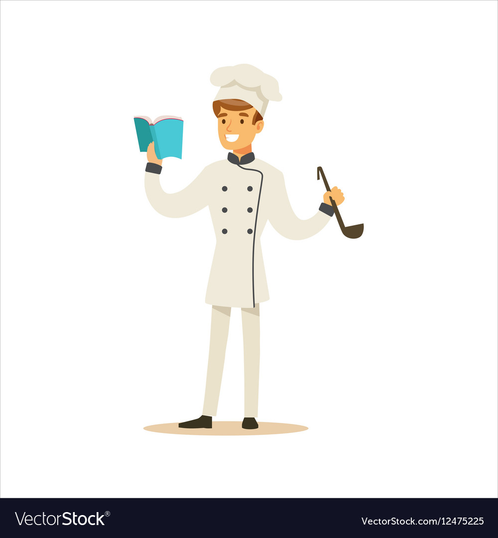 man professional cooking chef working in vector image