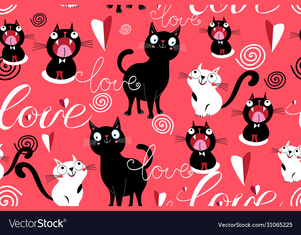 Seamless funny pattern loving cats and hearts