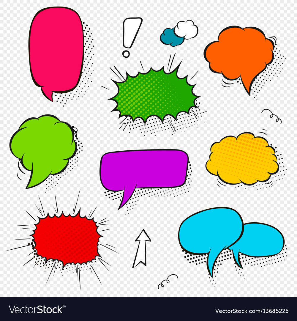 Set of comic speech bubbles and elements with