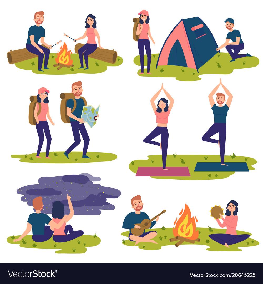 Set of travelers tourists traveling yoga hiking