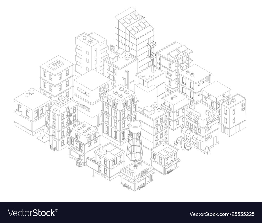 Town street intersection road buildings isometric