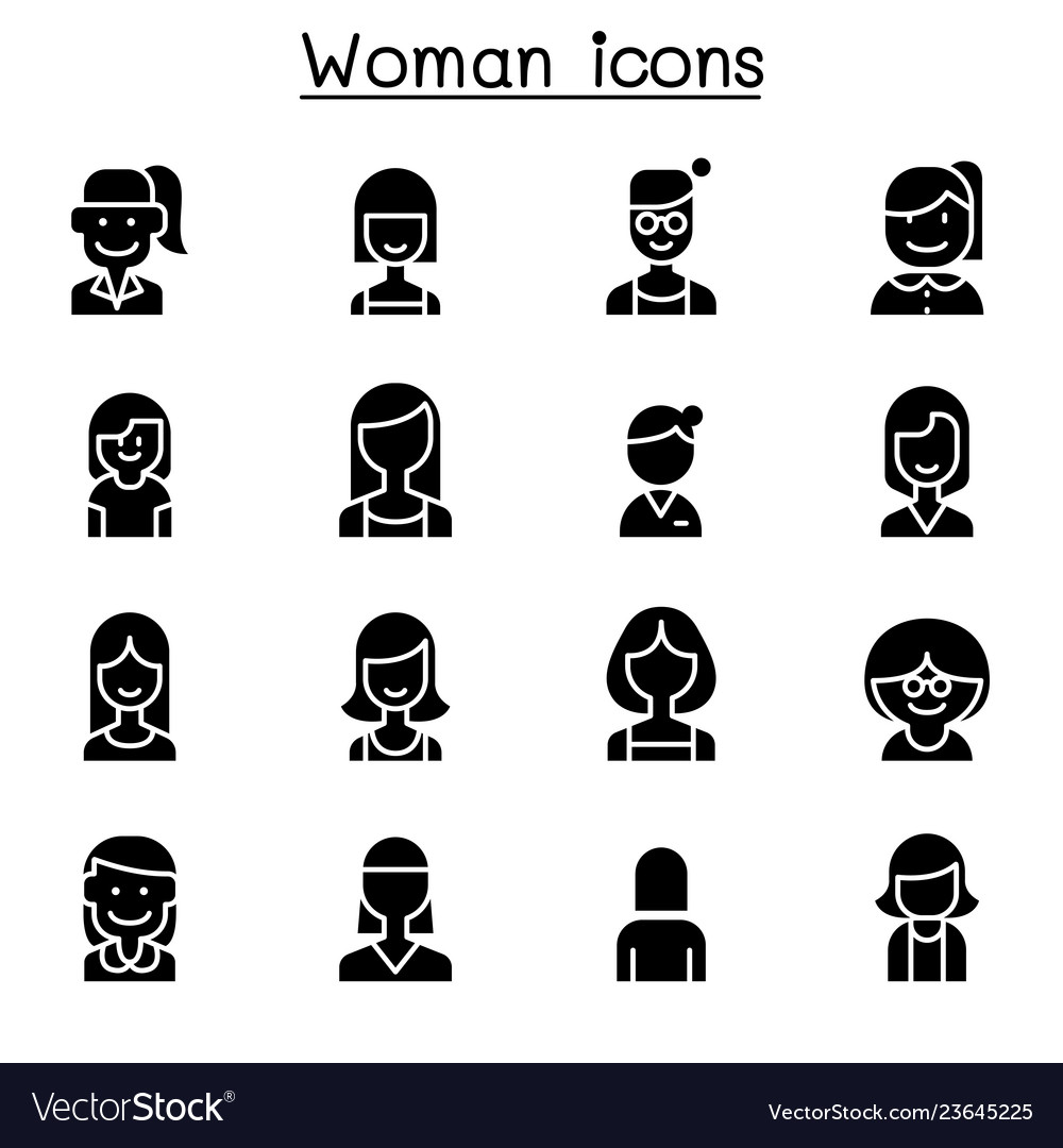 Woman girl lady female mom icon set