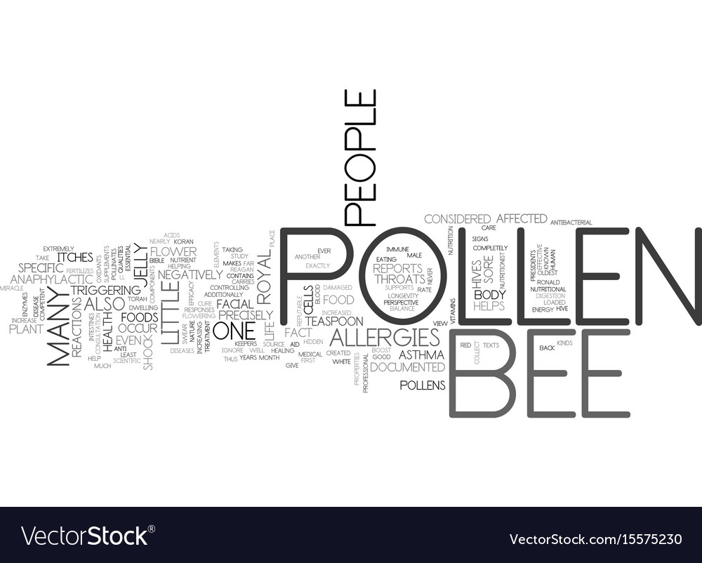 Bee pollen a medical miracle text word cloud