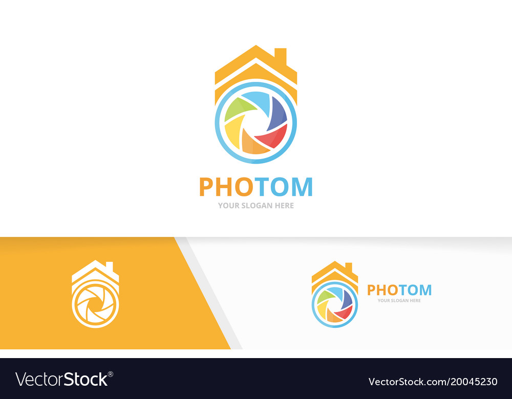 Camera shutter and real estate logo vector image