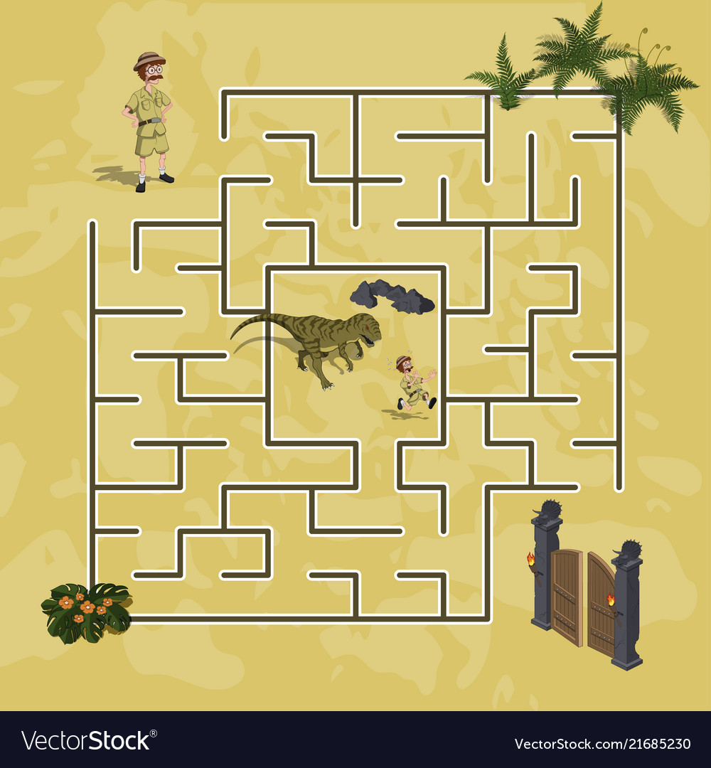 Cartoon kids maze in dinosaur world