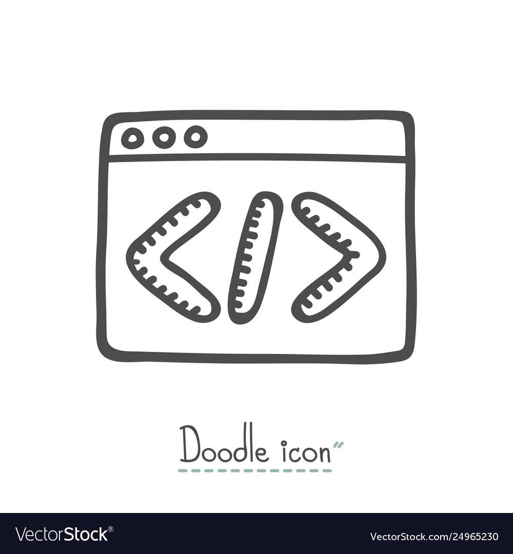 Coding doodle icon