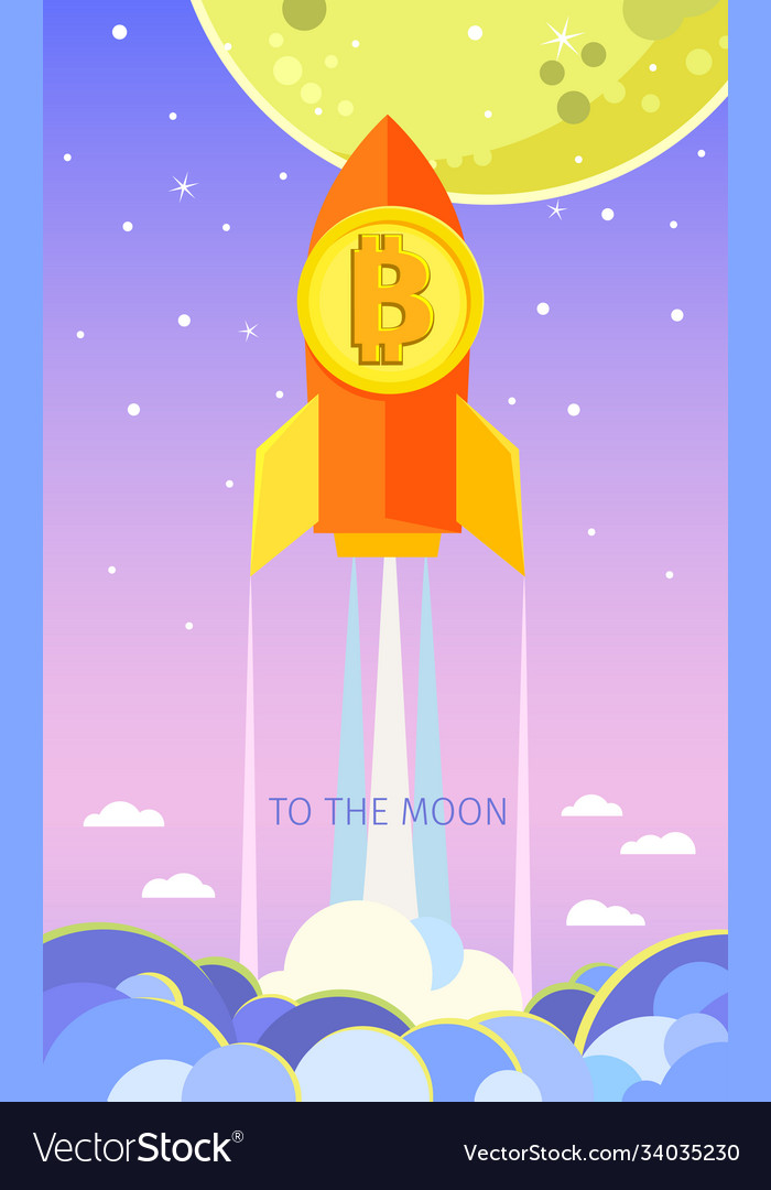 Concept crypto-currency rocket flying to the