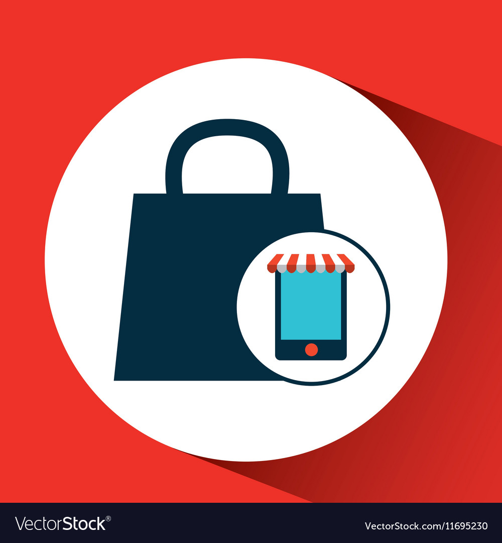 Digital e-commerce bag gift design icon vector image