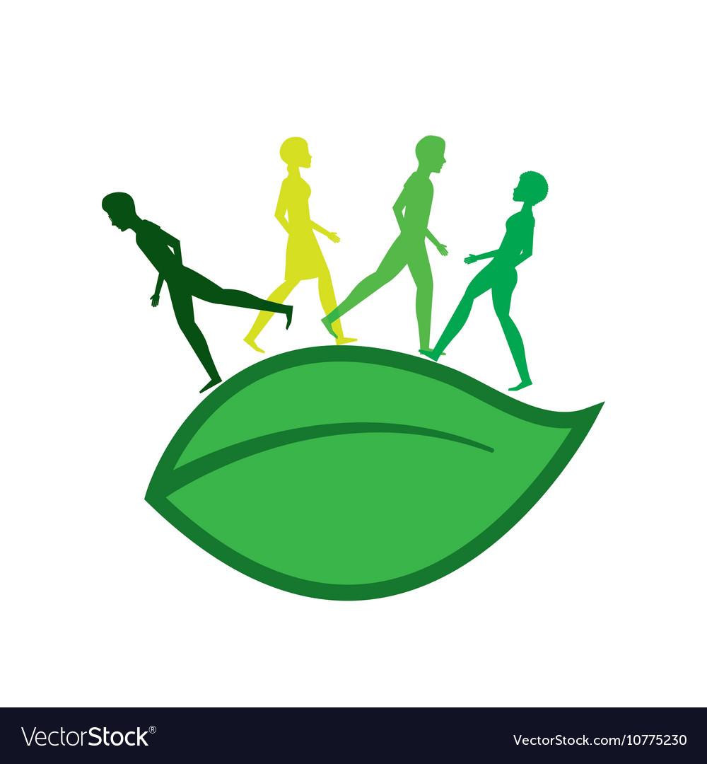 ecology people walk icon royalty free vector image vectorstock