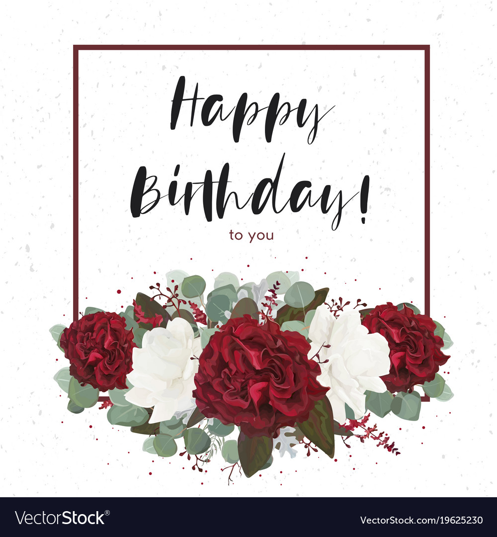 Floral Happy Birthday Greeting Gift Card Design Vector Image