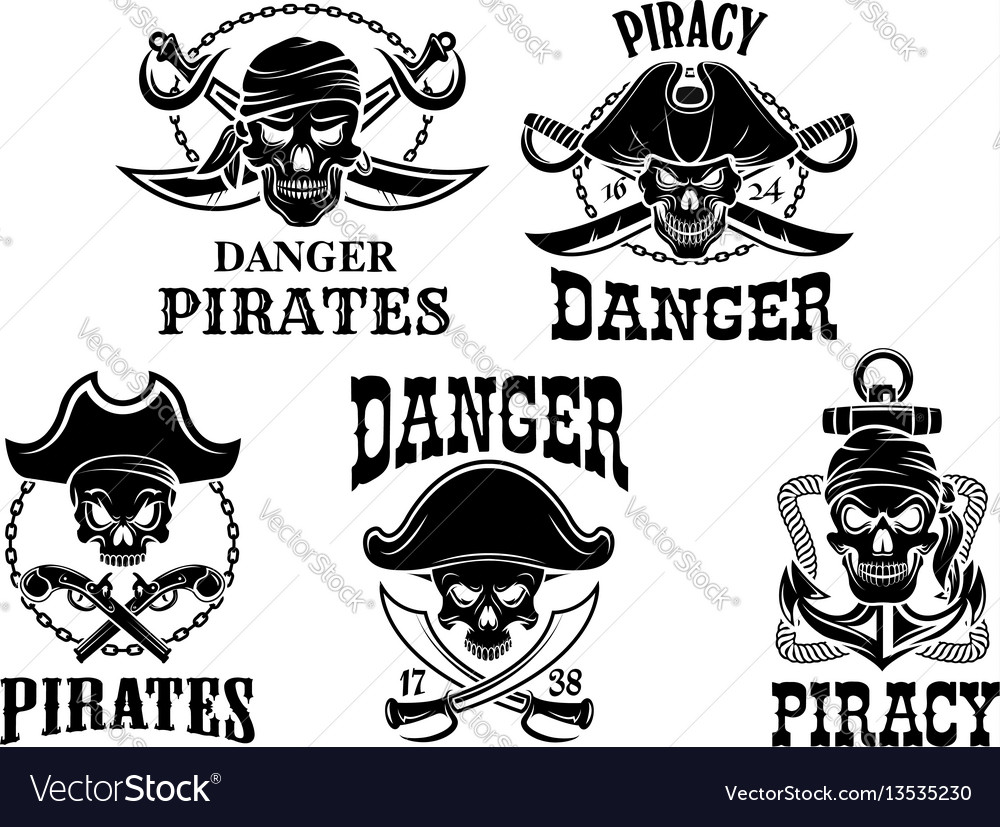 Jolly roger pirate icons set