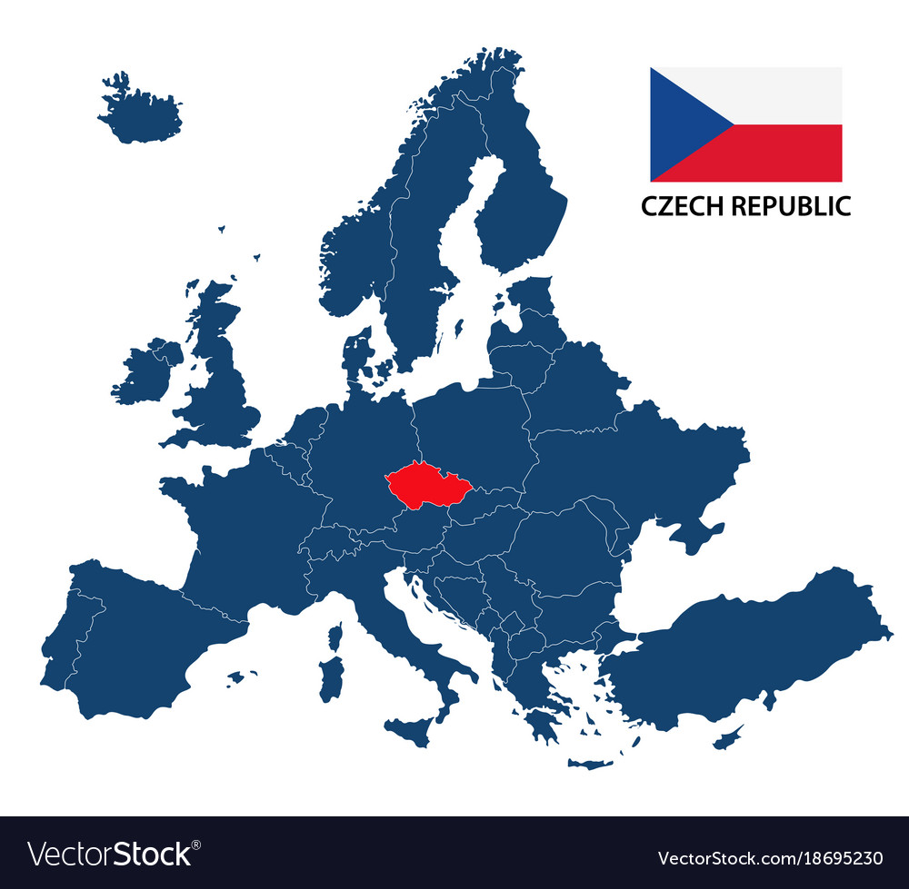 czech republic europe map Map europe with highlighted czech republic Vector Image