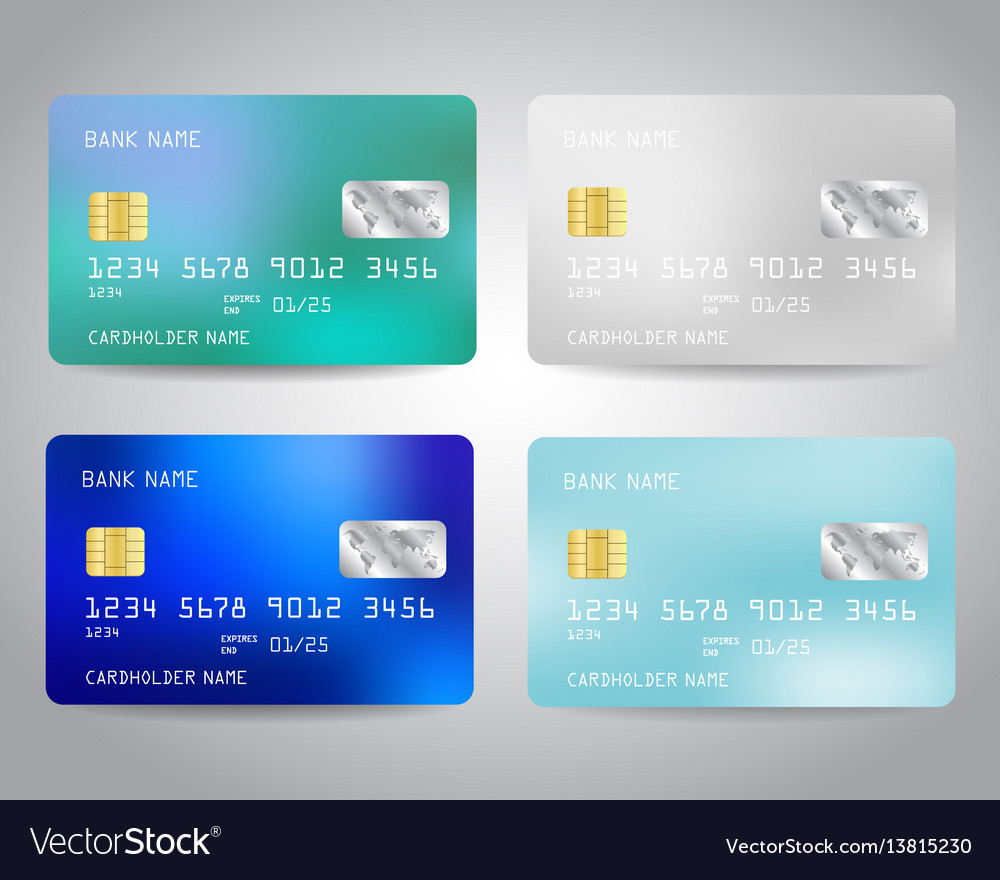 Realistic detailed credit cards set vector image