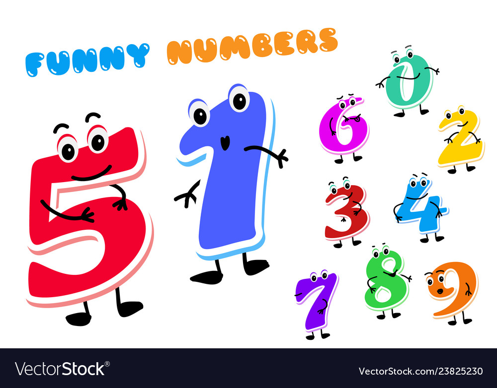 Set of funny cartoon numbers characters kids