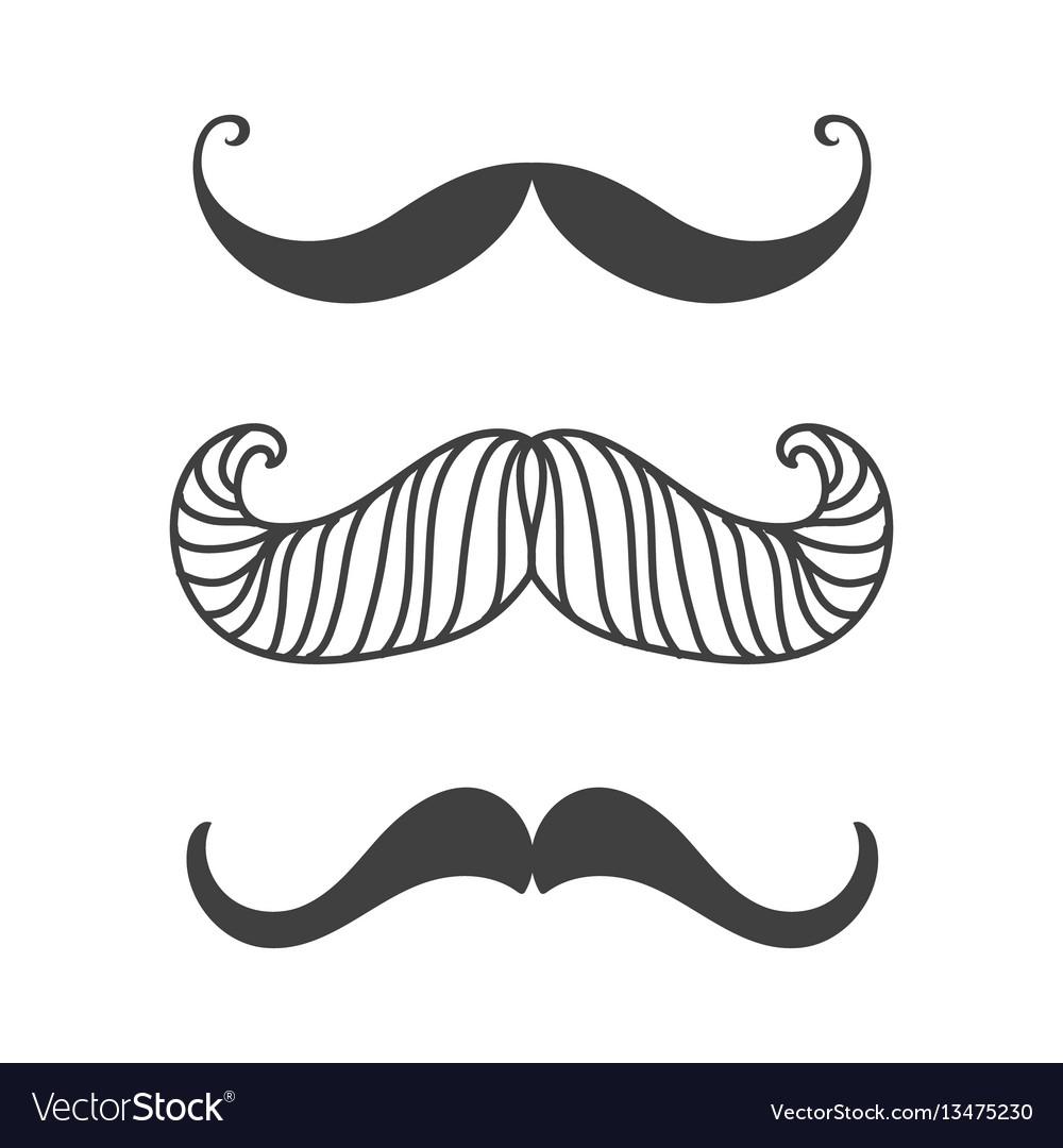 Silhouette black white mustache hair