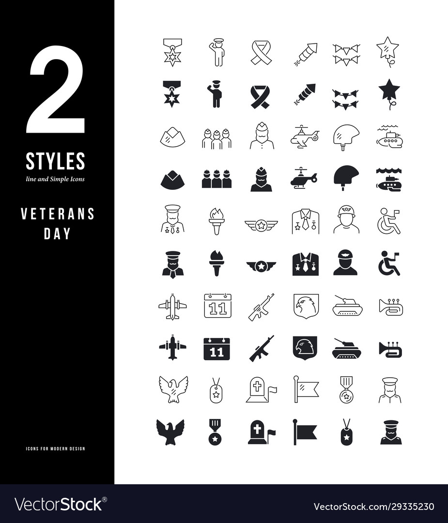 Simple line icons veterans day