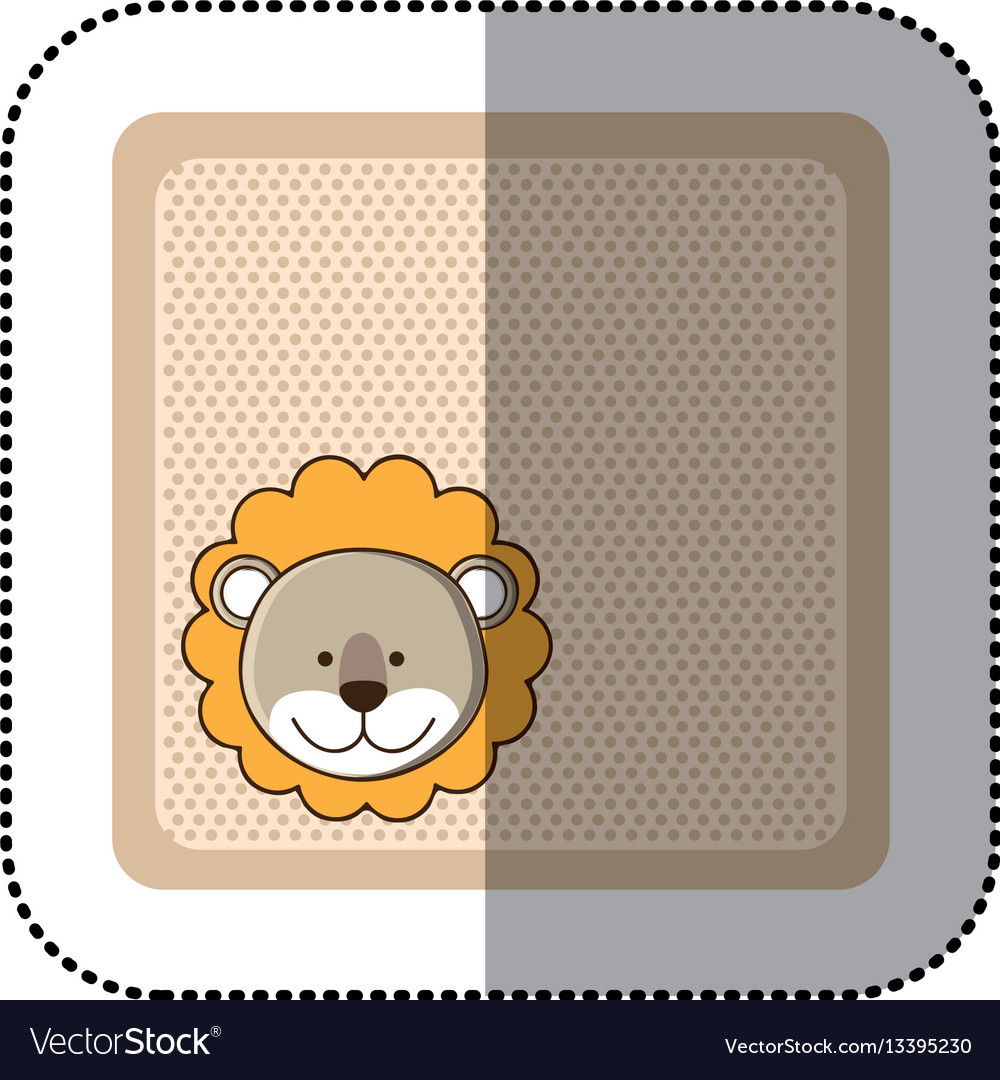 Sticker colorful greeting card with picture lion
