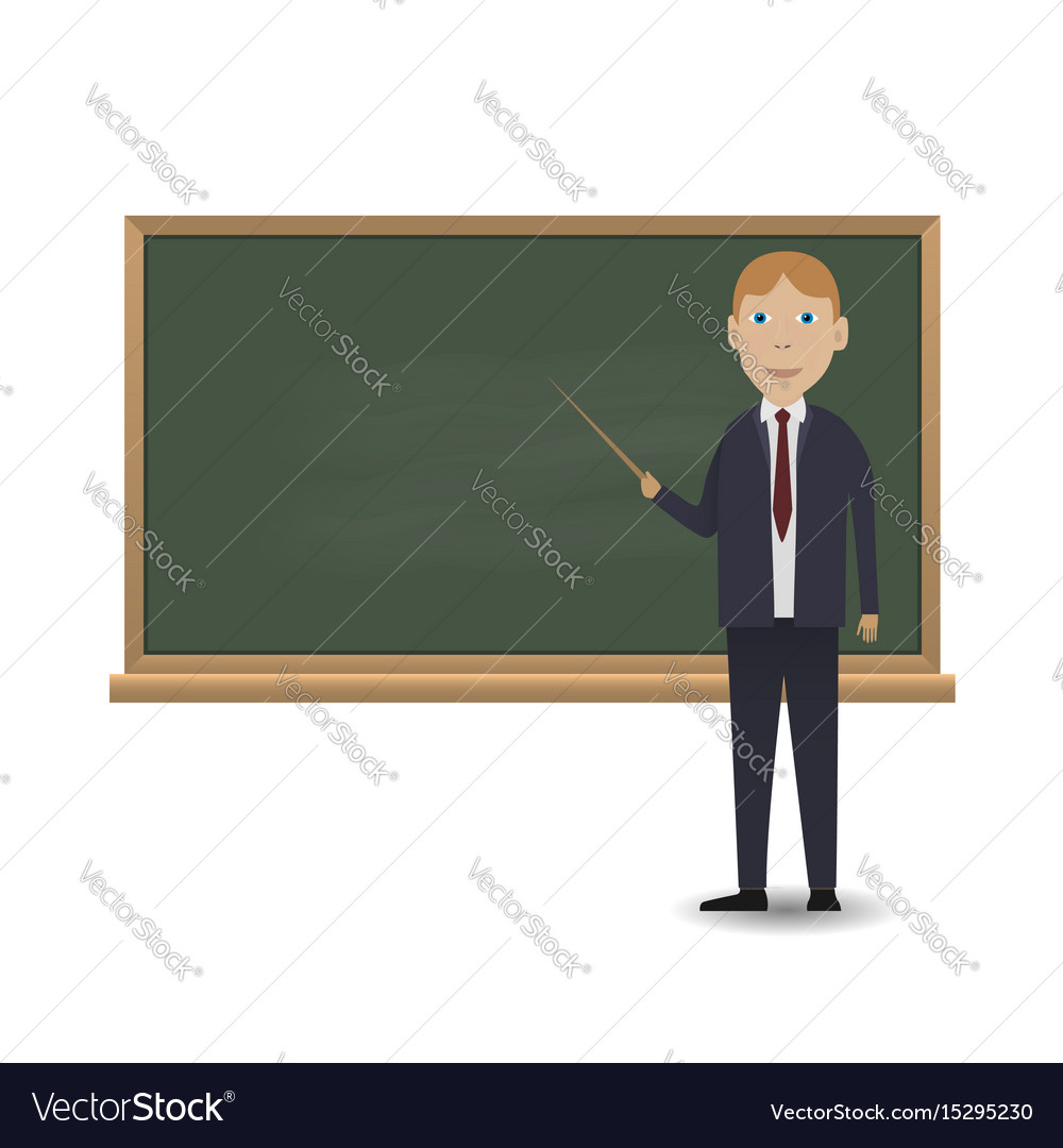 Young teacher standing in front of blackboard