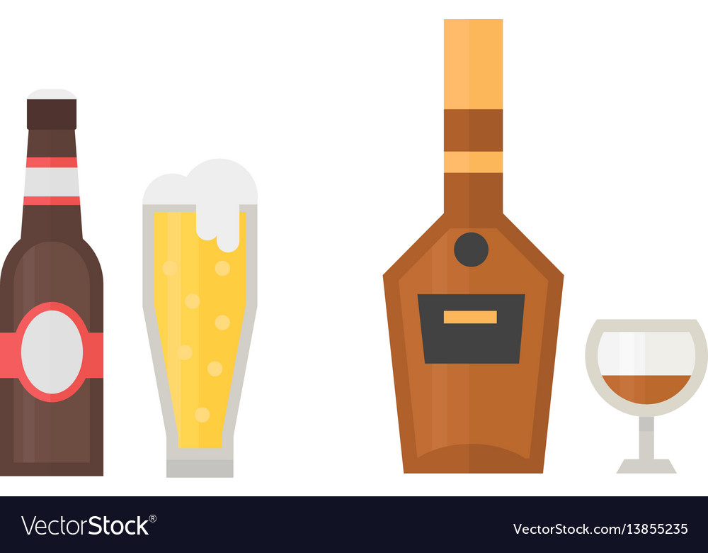 Alcohol beer drinks beverages cocktail whiskey vector image