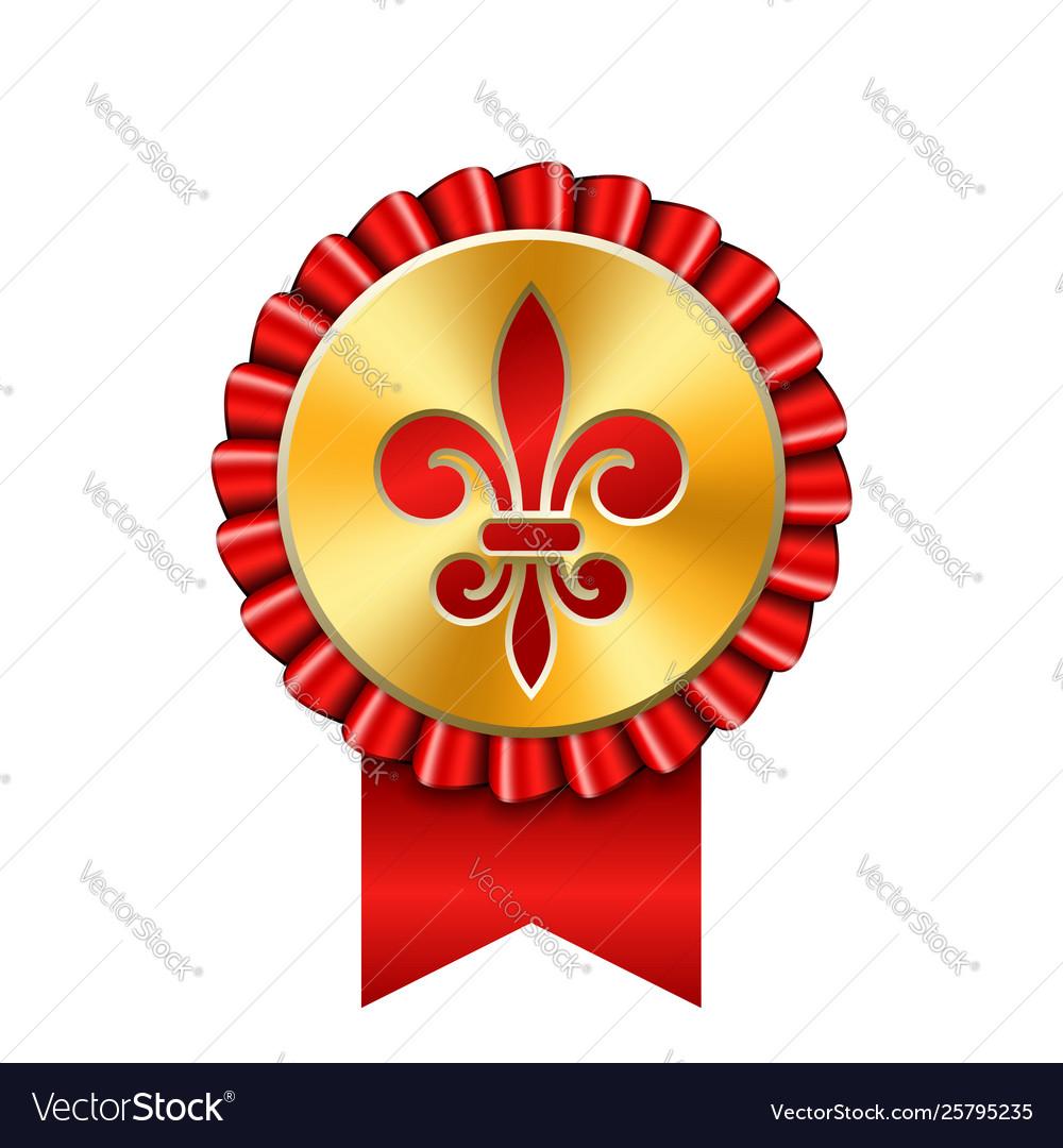 Award ribbon gold icon golden medal red fleur de