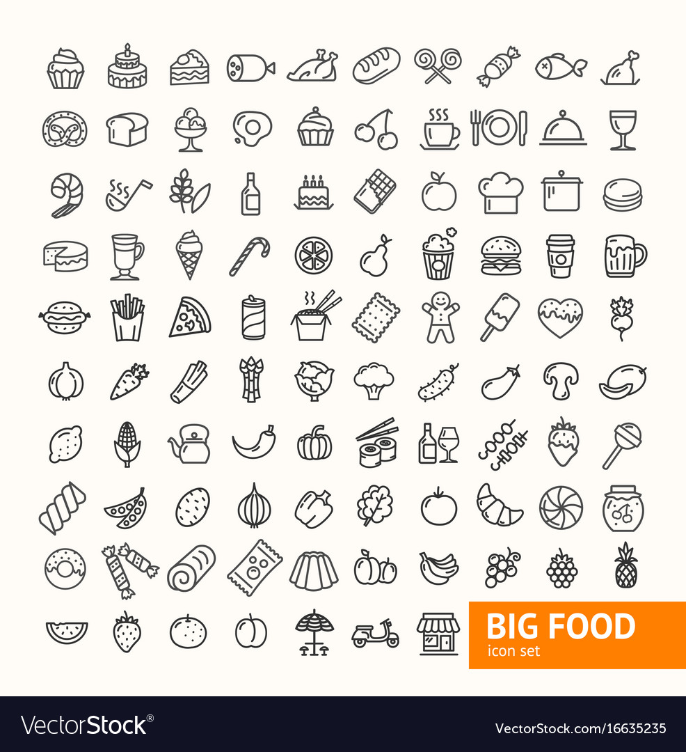 Big food black thin line icon set
