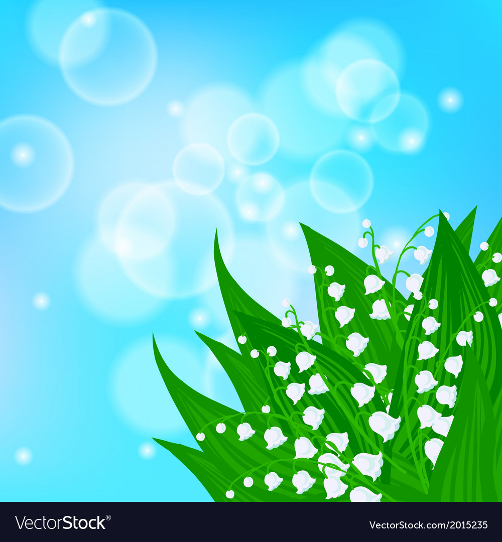 Card with field of lily of the valley flowers vector image izmirmasajfo