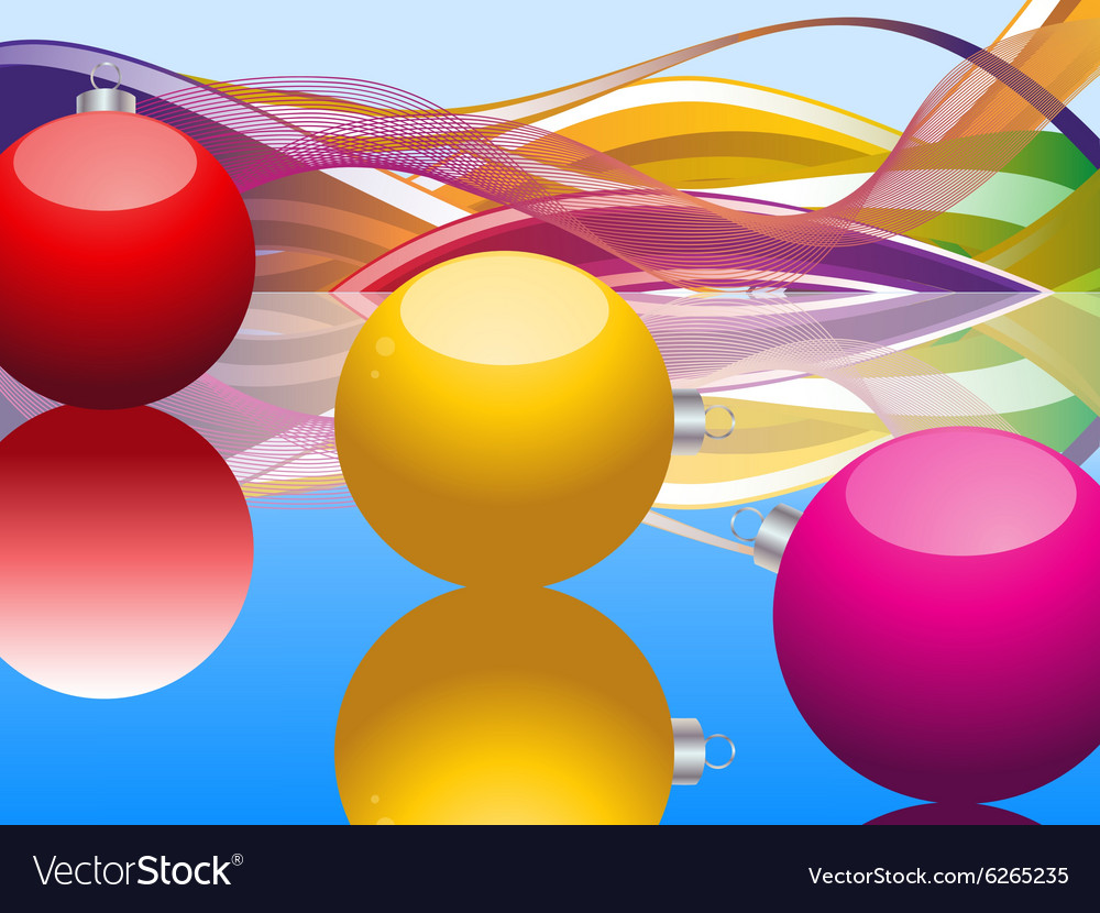 Christmas baubles and waves over blue vector image