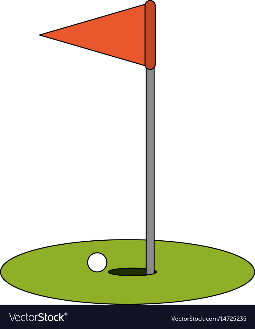 Color image cartoon golf flag with hole and ball
