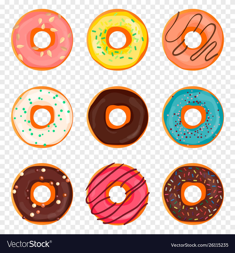 Donut with sprinkles and chocolate isolated on