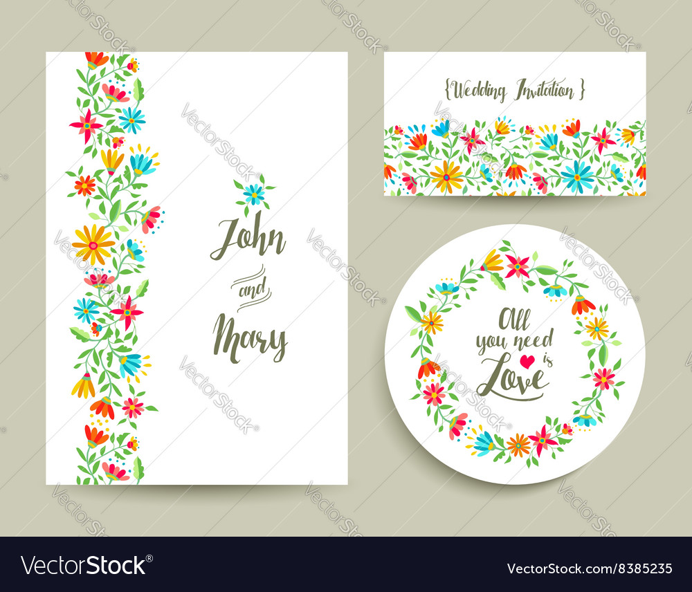 Flower wedding card invitation with nature design