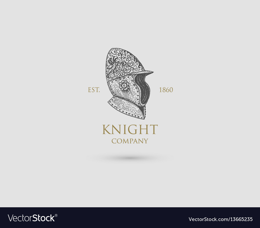 Helmet logo medieval knight antique vintage