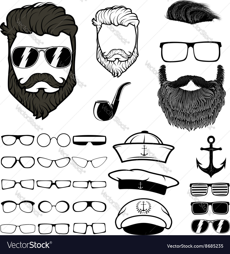 Fantastic Hipster Hair And Beards Set Of Design Elements Vector Image Schematic Wiring Diagrams Amerangerunnerswayorg