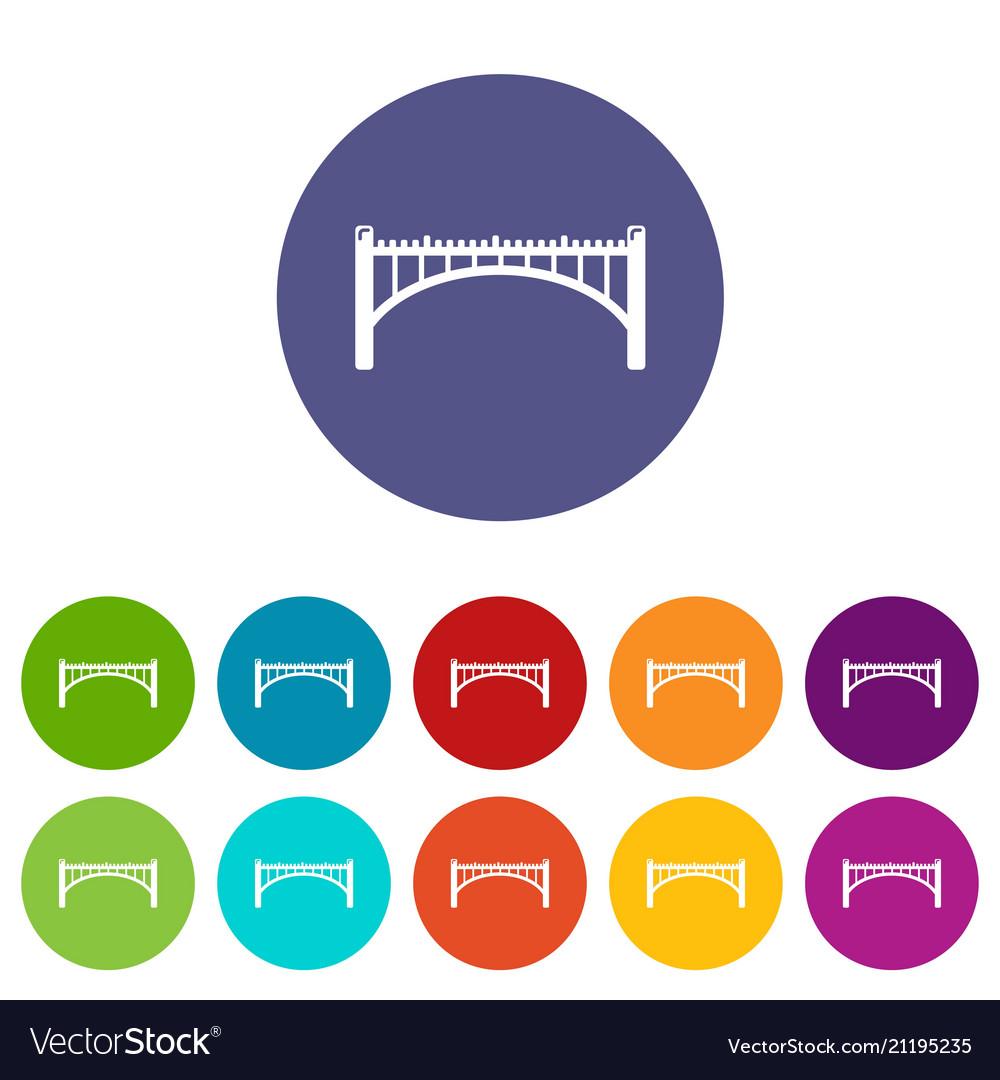 Road arch bridge icons set color
