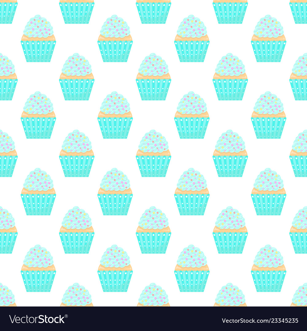 Seamless pattern with capcakes on a white