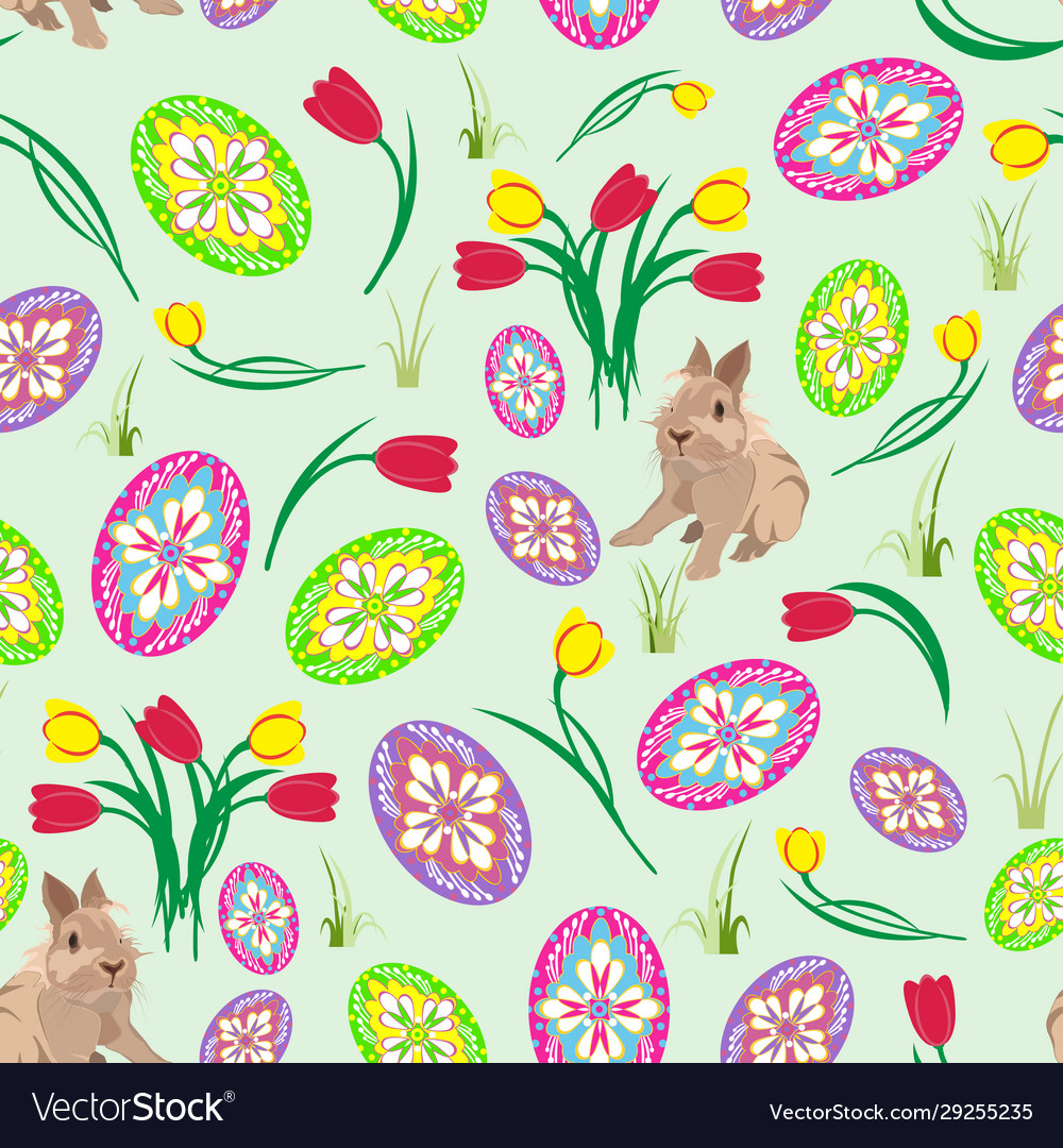 Seamless Pattern With Easter Eggs Cute Royalty Free Vector