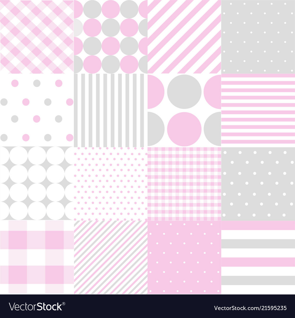 Seamless patterns for baby girl shower party